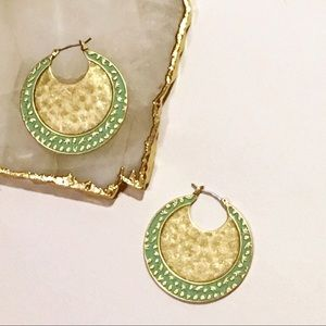 Lucky NWT Gold with Turquoise Inlay Hoops